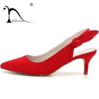 kelebek yüksek topuk ayakkabıları toptan satış-FEDIROMA Kadın Seksi Kadınlar için Kelebek-Düğüm Yüksek topuklu Elbise ayakkabı Pompaları 2018 Sping süet yüksek topuk ayakkabı Lady 6 CM Yumuşak Topuklu