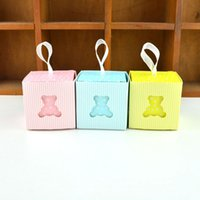 Wholesale baby bear favor boxes for sale - Group buy Creative Birthday Party Favor Sky Blue Yellow Pink Bear Candy Box Baby Shower Birth Announcement Giveaways Gift Box QW9850