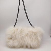pelz-handtaschen großhandel-realer Pelzfrauenschulter-Muffbeutelwinter-Handwärmer echter Fuchspelz-Pelzschulterhandtaschenabend-Kupplungsgeldbeutel