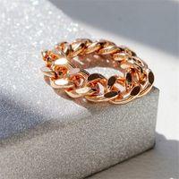 moda anéis dedo cadeias venda por atacado-BOAKO Hot Único Estilo Coreano Anéis de Corrente Dos Homens de Ouro / Prata Moda Simples Do Punk Knuckle Anéis para As Mulheres Anel de Dedo anillos mujer