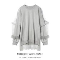 doppelschicht-sweatshirt großhandel-Plus Samt Dickes, doppelschichtiges Netz mit Rüschen Grau Langes Sweatshirt Damen Swan Langarm-Pullover mit Rundhalsausschnitt