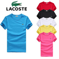 bordado de algodão de meninos venda por atacado-2019 Novo 8 Cor T Shirt das Mulheres dos homens Crocodilo Bordado de Algodão Casual T-shirt de Verão Skate Tee Boy Skate Branco Camiseta Tops S-4XL