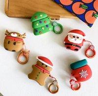 sankt weihnachten silikon fall großhandel-Weiche Karikatur Weihnachten Sankt-Schneemann Treen Kopfhörer-Kasten für Apple Airpods 1 2 Bluetooth-Kopfhörer Earpods Silikon protectiv Abdeckung