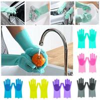 guantes para la cocina al por mayor-Lavaplatos mágicos Guantes para lavar platos Guantes de limpieza de silicona con cepillos Cocina Hogar Guantes de esponja de goma Lavado de autos Guante