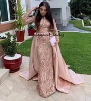 Wholesale organza rose dress resale online - Saudi Arabia Long Sleeves Mermaid Muslim Evening Dress with Detachable Train Rose Gold hunter Sequin Kaftan Dubai Prom Formal Dresses