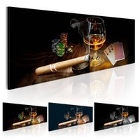 Wholesale decorate wall art abstract modern resale online - No Frame Bar Restaurant Decorated with Wine Poker Cigars Design Canvas Print Wall Art Modern Home Decoration Multicolor