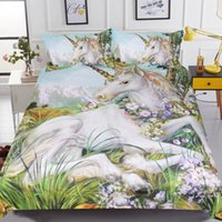 Wholesale horse bedding sets full size for sale - 3D Unicorn Bedding Set Queen Size Horse Print Bed Set Kids Flower Duvet Cover Bedlinen with Pillowcases Bedclothes Bed Sheets