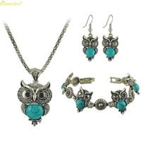 одно серьги ожерелье серьги оптовых-HOT  One Set Of Retro Owl Bracelet + Necklace + Earring