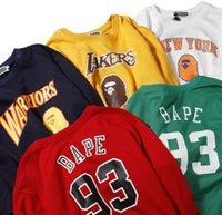 rote lose pullover tops großhandel-Großhandel neue Teenager Rundhals Pullover Karikaturdruck rot weißen Pullover Herren Casual lose Sport Hip Hop Pullover Pullover Tops
