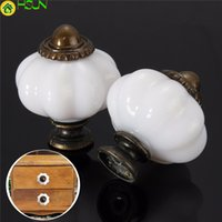 Wholesale vintage ceramic knobs resale online - White Imitation Ceramic Vintage Door Knobs Cabinet Drawer Cupboard Kitchen Durable Pull Knob Handles For Furniture Hardware