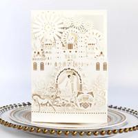 weiße laserschneiden einladungen großhandel-Luxuriöser Palastbogen Weiß Elegante lasergeschnittene Hochzeitseinladungskarten hohlen personalisierte Verlobungseinladungskarte mit Umschlag aus
