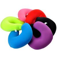 подушка для отдыха шеи для путешествий оптовых-Pure Color U Shaped Neck Pillow Micro  For Rest Airplane Car Travel Pillow Foam Bedding Set