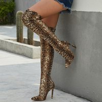 Wholesale overknee boots thigh high for sale - Group buy 2019 High With Boots Overknee Snake Sharp Sexy Nightclub Sharp
