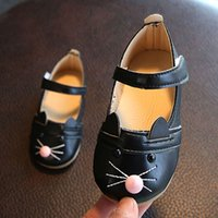 Wholesale children shoes kitty resale online - Fashion Girl Princess Shoes White Black Pink Casual Leather Flats Shoes Children Cute Kitty Baby Dance Shoe Wedding Shoes