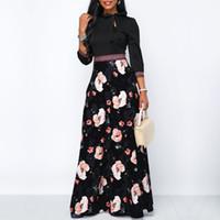 uzun kollu maxi elbise stili toptan satış-Kadınlar Uzun Maxi Elbiseler Bohemia Hollow boyun Üç Çeyrek Kol Çiçek Etnik Yaz Plaj Kadın Şık Stil Elbise yazdır
