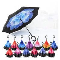 ручные стенды оптовых-C-рука ветрозащитный обратный двойной слой перевернутый зонтик наизнанку самостоятельно стоять ветрозащитный зонтик 17 цветов MMA1207