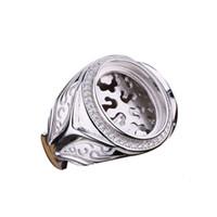 925 ovale männer schellen großhandel-Sterling 925 Silber Männer Engagement Ehering Punk Silber Semi Mount Ring Einstellung passen 13x16mm Oval Cabochon Türkis Amber