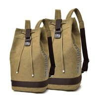 Wholesale canvas mountain bag for sale - Group buy Canvas men s Backpack large capacity bucket bag high school students schoolbag male cylinder outdoor mountain climbing Backpack