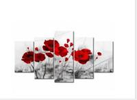 lienzo de pared de sala de estar al por mayor-Pinturas de la lona Decoración Del Hogar Impresiones Amapolas Románticas Cartel 5 Unidades Flores Rojas Fotos Para la Sala de estar Modular Arte de La Pared