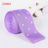 Wholesale christmas neckties for men resale online - Leisure Men s Knitted Polyester silk neck ties Solid Stripe Neckties Party Wedding Neck Ties for men Christmas gift