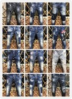 imagens de jeans buracos venda por atacado-Imagem Real Itália ICON Homens D2 Rasgado Jeans # 0275 Moda Motociclista Curto Jean Calças Jeans Casual Streetwear Buraco Estilo Shorts Jeans