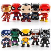 ingrosso personaggi super eroi-FUNKO POP 10pcs / set DC Azione Justice Figures Personaggi League Marvel Avengers Super Eroe Modello capitano azione Figure del giocattolo per i bambini