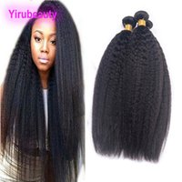 cabello humano yaki tramas al por mayor-Kinky Straight 4 Bundles Brasileño de cabello humano Yaki Straight Doble tramas Virgin Hair 4 Bundles Tejidos para el cabello
