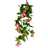 Wholesale artificial hanging plant decoration wedding resale online - Artificial Hanging Vine Decoration Morning Glory Fake Plant Leaves Vivid Rattan Leaf Garden Party Home Wedding Decor Flower