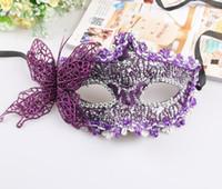 hermosas mascaras al por mayor-Máscara de encaje de mariposa Máscara de bola de mariposa sexy Máscara para niñas Mujeres Mascarada Baile Fiesta Hermosas caretas de media cara