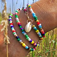 pulseras con cuentas de goma al por mayor-80 CM colorido Shell encantos de goma pulsera moldeada africana hecha a mano Boho pulsera para mujeres DIY joyería que hace el regalo