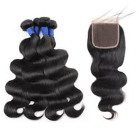 Wholesale hair for weaving resale online - 10A Brazilian Hair Human Hair Bundles With Closure Body Wave Peruvian Hair Weaves Fast Shipping bundles With Closure for Women