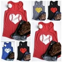 kalpler bluzlar toptan satış-Beyzbol Kalp O-Boyun Tank Yaz Tank En Popüler Basit Kadın Kolsuz Yelek Çift Softbol Tişört Bluz Tee O-OA6618 Tees