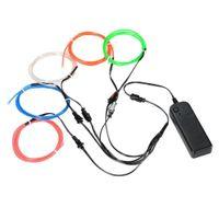 ingrosso kit di luce a filo-Kit luci al neon EL Wire con supporto per decorazioni natalizie di Halloween (colore casuale 5 per 5 metri)