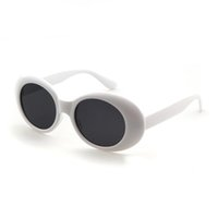 óculos de rocha venda por atacado-Clout Óculos Retro Vintage Branco Preto Oval Óculos De Sol NIRVANA Kurt Cobain Óculos Alienígenas Shades 90 s Branco Oval Óculos De Sol Do Punk Rock Eyewear
