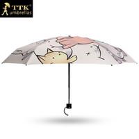 кошачьи зонтики оптовых-Cats Mini Sun Umbrella Women Sunscreen  Pocket 5 Folding Umbrellas Black Coating Children Guarda Chuva Fashion 50Ry064