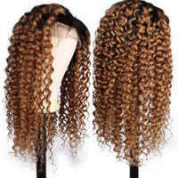 Wholesale wig color 1b 27 for sale - Group buy 1B Ombre Deep Part Lace Front Human Hair Wigs With Baby Hair Curly Remy Pre Plucked Brazilian Full Lace Wig Bleached Knots
