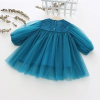 Wholesale beautiful gowns for children resale online - Lace girls dress children clothing beautiful baby girls spring autumn costumes for years kids princess