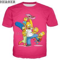 смешные футболки мужчина оптовых-The Simpsons Funny T Shirt Мужчины / женщины 3D-футболки с принтом с коротким рукавом в стиле Harajuku Футболка Streetwear Топы Q190518
