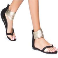 zipper back shoes venda por atacado-Flip-flop flat shoes senhoras sandálias casuais senhoras sandálias de verão fundo plano de camurça sapatos zipper de volta mulher zapatos mujer
