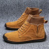 ingrosso migliori scarpe da campeggio-Migliori uomini di modo dei pattini di affari casuali escursione esterni scarpe viaggio campeggio davvero pizzo morbida pelle traspirante alti degli uomini 38-48
