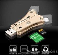 lecteur de carte iphone sd achat en gros de-4 en 1 i-FlashDevice HD Adaptateur de lecteur de carte micro SDTF pour iPhone 5 6 7 8 pour IPad Macbook Android Caméra Noir Blanc OR