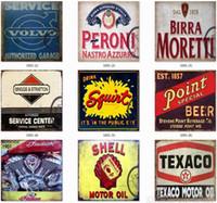arte da parede da motocicleta venda por atacado-Estanho Sinal Decoração Da Parede de Ferro Pintura Adesivo de Parede Retro Metal Bar Garage Poster Moto Cozinha Restaurante Bar Pub Cafe Decoração Arte