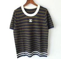 tops kız gömlek tasarımı toptan satış-Moda Stil Lüks Tasarım En Tees Kalite Logo Mektubu FF Kadınlar Kız Lady Ekip Boyun Knits t-shirt