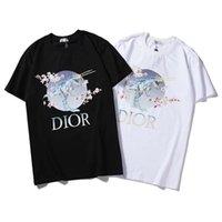 печать сливы оптовых-модные летние футболки для мужчин мужские дизайнерские футболки цветение сливы динозавр принт марка топы мужчины женская одежда