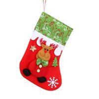 Wholesale bear christmas ornaments resale online - Santa Claus Snowman Reindeer Socks Stocking Bag Christmas Tree Hanging Reindeer Santa and Bear Ornaments