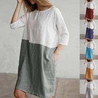 vestido suelto de lino largo al por mayor-Las mujeres de lino de algodón vestido de blusa Patchwork Color de manga larga camisa suelta Vestidos de tres cuartos de bolsillo de la rodilla larga camiseta del ocio S-5XL C43001