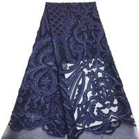 ткань кружева флота оптовых-VILLIEA Африканский кружевной ткани 2019 высокое качество нигерийский темно-синий кружевной ткани с блестками вышивка тюль кружева для свадьбы