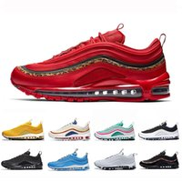 siyah erkekler spor koşu ayakkabıları toptan satış-Nike AiR Max 97 Red Leopard Yellow Steelers UNDEFEATED OG UNDFTD Running shoes 2019 Triple white black 97s South Beach Men women sports Sneakers