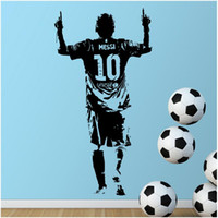futbol duvar çıkartmaları çocuklar toptan satış-Çocuklar Odası için Yeni Tasarım Lionel Messi Şekil Duvar Sticker Vinil DIY Ev Dekorasyonu Futbol Yıldız Çıkartmaları Futbol Atlet