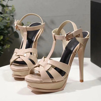Wholesale ups labels for sale - Group buy 2020 quality European style shoes imported leather female sandals designer has label female slippers women fashion high heels black white